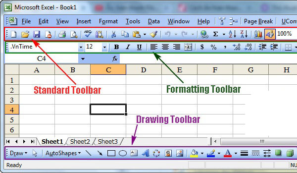 3 thanh Toolbar chuẩn trong Excel.