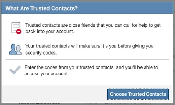 Thiết lập Trusted Contacts